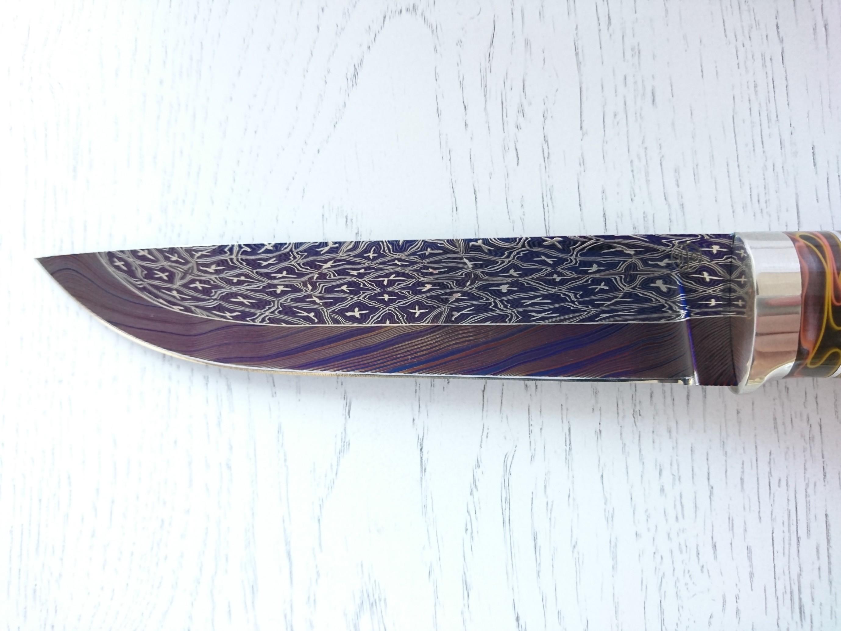 """Нож """"Вепрь"""" (Цветной мозаичный дамаск)"""